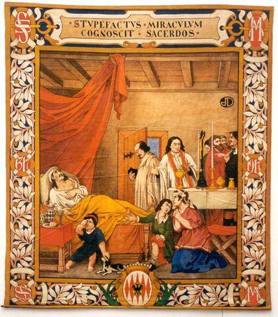 Jos Damien (1879-1973), Priester bij stervende, wandtapijt uit een reeks van zes, 1917, tempera op katoendoek.
