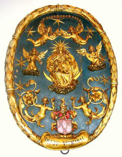 Daniël van Vlierden (1651-1716), Gildenblazoen De Roode Roos, ca. 1700, deels verguld hout.