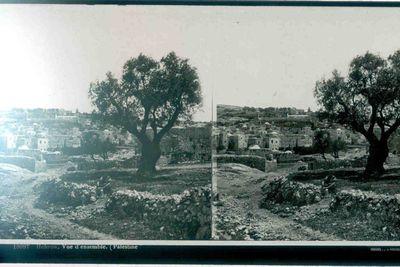 Ferrier p.f. & Soulier, J. Lévy Sr., stereokaart met zicht op Hebron, Palestina, s.d., glas.