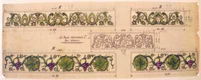 Manufacture de Céramiques Décoratives de Hasselt (1895-1954), ontwerptekening voor twee verschillende tegeltjes: één renaissance - mytisch vrouwenhoofd en één met wijnranken, s.d., potlood, inkt, waterverf op papier.