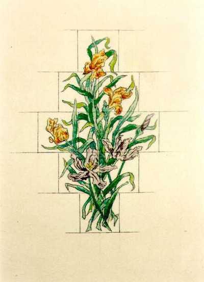 Manufacture de Céramiques Décoratives de Hasselt (1895-1954), ontwerptekening voor een tegelpaneel met bloemenruiker, 1895-1914, inkt, waterverf op papier.