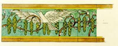 Manufacture de Céramiques Décoratives de Hasselt (1895-1954), ontwerptekening voor een tegelfries met witte duif, s.d., inkt, waterverf op papier.