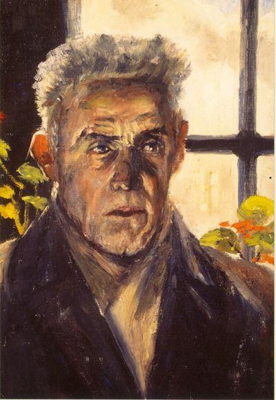 Virtorine (Victoire) Loodts (1880-1970), Man voor raam, s.d., olie op doek.