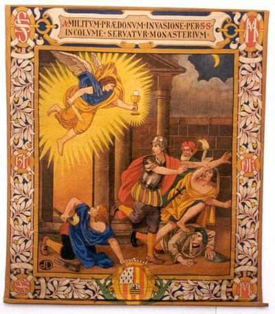 Jos. Damien (1879-1973), Engel met zwaard en kelk - vluchtende mensen, wandtapijt uit een reeks van zes, 1917, tempera op katoendoek.