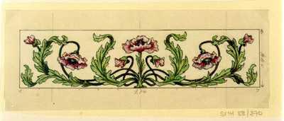 Manufacture de Céramiques Décoratives de Hasselt (1895-1954), ontwerptekening voor een tegelpaneel met bloemenmotief, s.d., potlood, inkt, waterverf op papier.