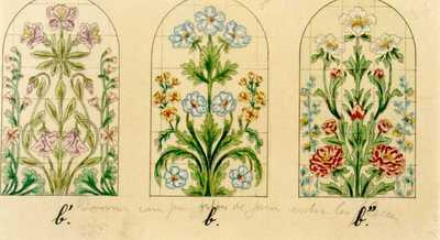 Manufacture de Céramiques Décoratives de Hasselt (1895-1954), ontwerptekening voor drie nisvormige tegelpanelen met bloemen, 1895-1914, potlood, inkt, waterverf op papier.