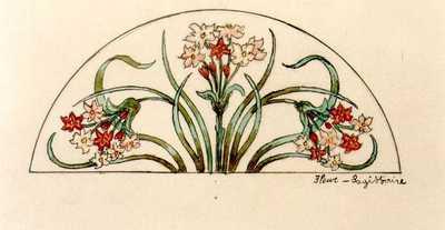 Manufacture de Céramiques Décoratives de Hasselt (1895-1954), ontwerptekening voor een halfrond tegelpaneel met bloemen, s.d., intk, waterverf op papier.