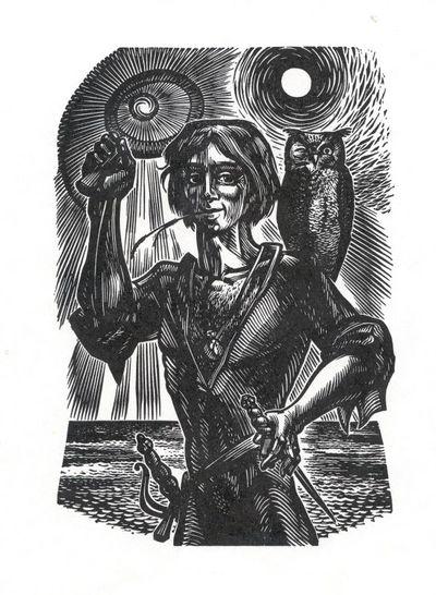 Frank Ivo Van Damme (°1932), prent met afbeelding van Tijl Uilenspiegel, s.d., papier, houtsnede.
