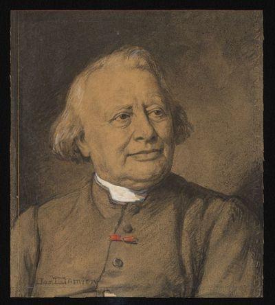 Jos. Damien (1879-1973), voorstudie van een portret van E.H. Polydoor Daniëls (1845-1944), 1928, pasteltekening.