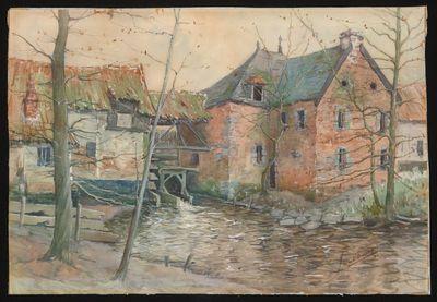 Paul Marie Bamps (1862-1932), Broekermolen vanuit het noorden, 1894, aquarel.