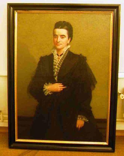 Godfried Egide Guffens (1823-1901), portret van Mevrouw Maria Carolina Eulalia Vos (1828-1876), echtgenote Jules Nagels (1829-1890), s.d., olie op doek.