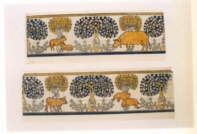 Manufacture de Céramiques Décoratives de Hasselt (1895-1954), ontwerptekening voor een tegelfries met afbeelding van dieren en bomen, s.d., potlood, inkt, waterverf op papier.