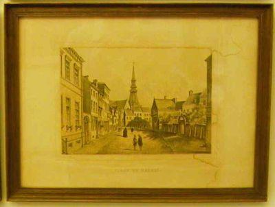 Charles Joseph Hoolans (1814-na 1866) lithograaf, Simonau & Toovey drukker, Gezicht op de Zuivelmarkt, 1860, lithografie.