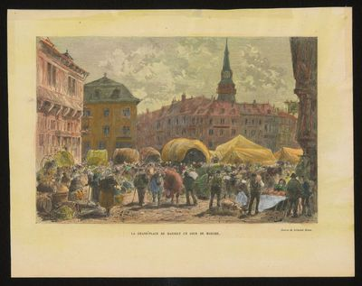 F. Méaulle, vervaardiger, Armand Jean Heins (1856-1938), tekenaar, La Grand' Place de Hasselt un jour de marché, 1882, papier, handgekleurde houtgravure.