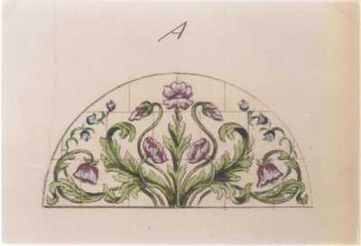 Manufacture de Céramiques Décoratives de Hasselt (1895-1954), ontwerptekening voor een halfrond tegelpaneel met papavers en klokjes, s.d., potlood, inkt, waterverf op papier.