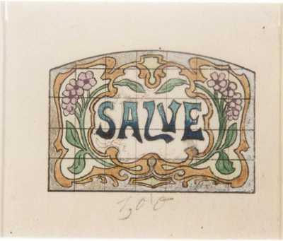 Manufacture de Céramiques Décoratives de Hasselt (1895-1954), ontwerptekening voor een tegelpaneel met bloemen en opschrift Salve, potlood, inkt, waterverf op papier.