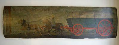 Anoniem, uithangbord In den Boschwaegen, 18de eeuw, olie op lindehout.