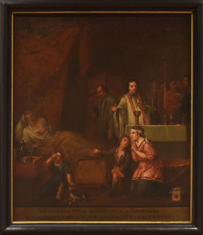 Anoniem, Het ontdekken van de bloedende hostie te Viversel, Sacrament van Mirakel, schilderij uit een cyclus van zes, 18de eeuw, olie op doek.
