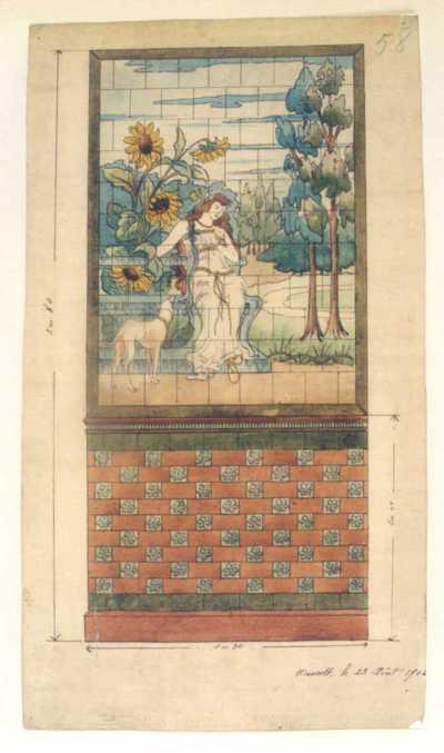 Manufacture de Céramiques Décoratives de Hasselt (1895-1954), ontwerptekening voor een tegelwand met een dame in tuin met hond, 1902, inkt, waterverf op papier.