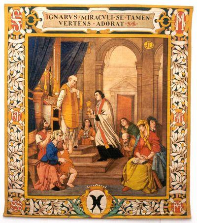 Jos. Damien (1879-1973), Overhandiging bloedende hostie aan priester kerk Herkenrodeabdij, wandtapijt uit een reeks van zes, 1917, tempera op katoendoek.