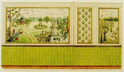 Manufacture de Céramiques Décoratives de Hasselt (1895-1954), ontwerptekening voor een tegelwand met tuinlandschap, s.d., potlood, inkt, waterverf op papier.