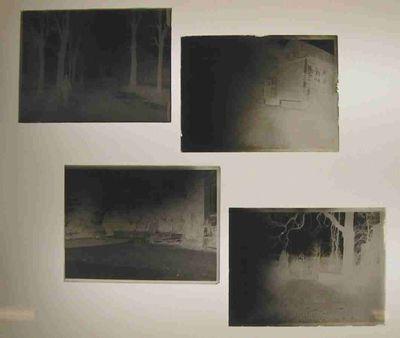 Anoniem, vier clichés-verres: één van de Schiervellaan, Stellingwerff-Waerdenhof, een tuin en één onbekend, s.d., glas.