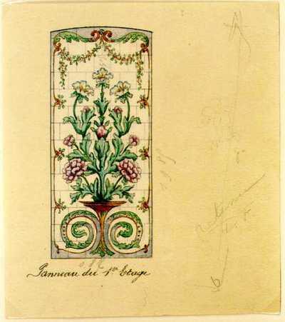 Manufacture de Céramiques Décoratives de Hasselt (1895-1954), ontwerptekening voor een tegelpaneel met bloemen en bloemenguirlandes, s.d., potlood, inkt, waterverf op papier.