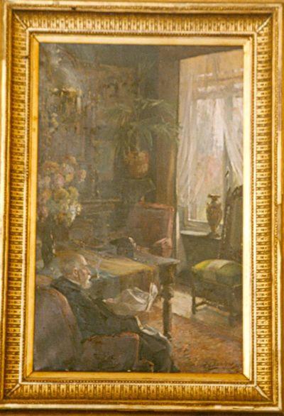 Interieur met oude man (vader van de schilder)
