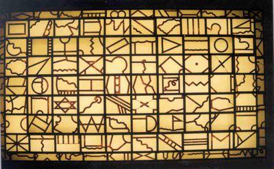 Herman Blondeel (1956-1997), Dialoog met de ruimte, 1989, lood, glas.