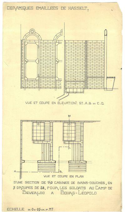 Manufacture de Céramiques Décoratives de Hasselt (1895-1954), ontwerptekening voor 140 douchekabines van Kamp van Beverlo, s.d., papier, inkttekening, handgeschreven tekst.