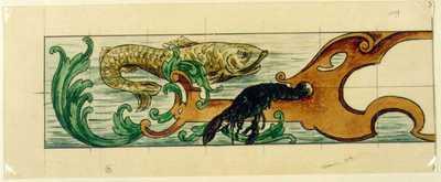 Manufacture de Céramiques Décoratives de Hasselt (1895-1954), ontwerptekening voor linkerhelft van een tegelpaneel met vis, kreeft en wier, s.d., potlood, inkt, waterverf en papier.