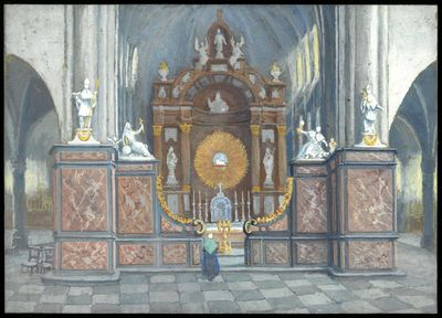 Paul Marie Bamps (1862-1932), Vroegere koorafsluiting van de Sint-Quintinuskathedraal, ca. 1890, gouache.