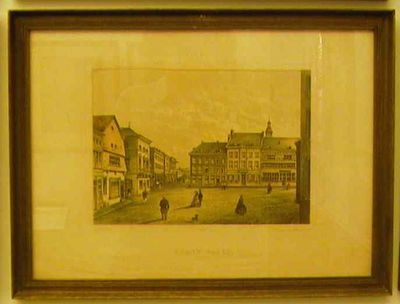 Charles Joseph Hoolans (1814-na 1866) lithograaf, Simonau & Toovey drukker, Gezicht op de Grote Markt, 1860, lithografie.