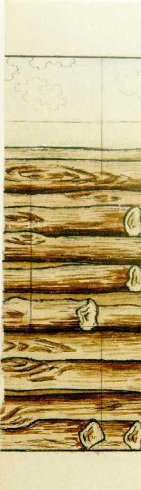 Manufacture de Céramiques Décoratives de Hasselt (1895-1954), ontwerptekening voor een tegelpaneel met gestapelde boomstammetjes, s.d., potlood, inkt, waterverf op papier.