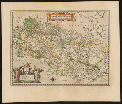 Willem Janszoon Blaeu (1571-1638), cartograaf, Jan (Joan) Willemszoon Blaeu (1596-1673), kaart Leodiensis Diocesis van het Prinsbisdom Luik, 17de eeuw, papier, handgekleurde gravure.