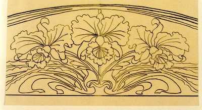 Manufacture de Céramiques Décoratives de Hasselt (1895-1954), ontwerptekening voor een boogvormig tegelpaneel met drie orchideeën, s.d., potlood, inkt op papier.