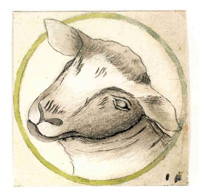 Manufacture de Céramiques Décoratives de Hasselt (1895-1954), ontwerptekening voor een tegel met afbeelding van een schaapskop, s.d., inkt, potlood, waterverf op papier.