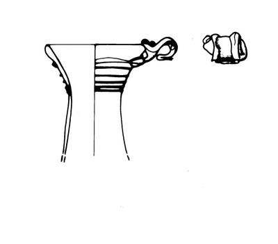 Fragment van een kan in glas