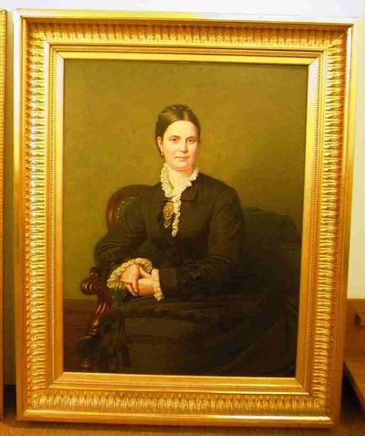 Godfried Egide Guffens (1823-1901), Portret van Emma Victoire Ouwerx-Lassine (1833-?), s.d., olie op doek.