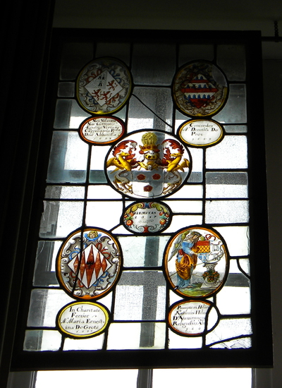 Anoniem, samengesteld glasraam 'Firmitas 1657' van Herkenrode, glas-in-lood.
