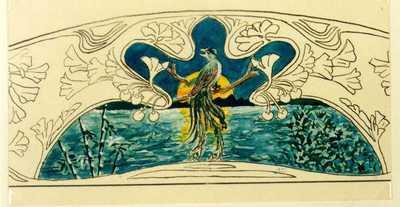 Manufacture de Céramiques Décoratives de Hasselt (1895-1954), ontwerptekening voor een boogvormig tegelpaneel met vogel bij ondergaande zon, 1895-1914, potlood, inkt, waterverf op papier.