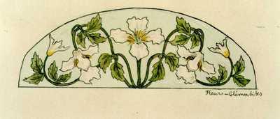 Manufacture de Céramiques Décoratives de Hasselt (1895-1954), ontwerptekening voor een boogvormig tegelpaneel met bloemen, 1896-1914, potlood, inkt, waterverf op papier.
