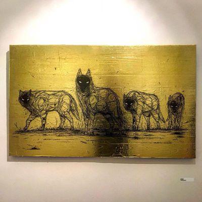Dzia, Wolfpack, 2018, Outside Inside, inkt op bladgoud en hout.