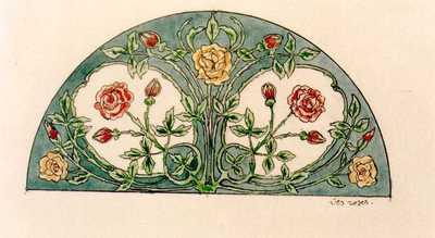 Manufacture de Céramiques Décoratives de Hasselt (1895-1954), ontwerptekening voor een halfrond tegelpaneel met rozen, s.d., inkt, waterverf op papier.
