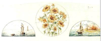 Manufacture de Céramiques Décoratives de Hasselt (1895-1954), ontwerptekening voor twee halfronde tegelpanelen met schepen op zee met op achtergrond zonsondergang en één rond tegelpaneel met zonnebloemen, s.d., potlood, inkt, water- en plakkaatverf op papier.
