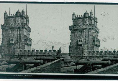 Ferrier p.f. & Soulier, J. Lévy Sr., stereokaart met foto van de Toren van Belém, Lissabon, s.d., glas.