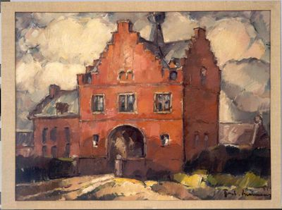 Paul Hermans (1898-1972), Poortgebouw van de abdij van Herkenrode, 1931, olie op doek.