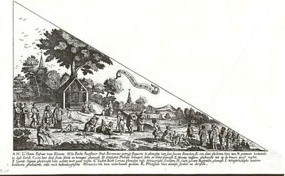 J. Ceysens, bedevaartvaantje met afbeelding van het miraculeus beeld van Onze-Lieve-Vrouw van Kortenbos en mirakelen, s.d., papier, kopergravure.