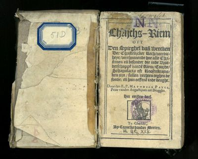 Matthias Paulli, auteur, Geeraerdt Van Wolfschaten, drukker, boek Vier Historien van het H.Sacrament van Mirakel, 1620, papier.