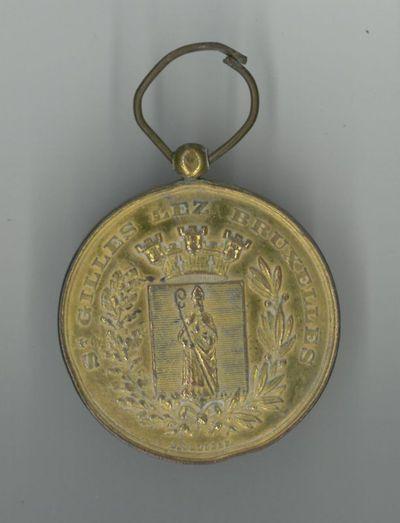 P. De Greef, herinneringsmedaille '60me Anniversaire de la Société Royale Orphéique de St. Gilles Bruxelles 1840-1900', 1900, verguld brons.